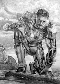 DeviantArt: More Like The Avengers half series - Iron Man by helena-L Avengers Drawings, Avengers Art, Marvel Art, Iron Man Drawing, Chibi Marvel, Iron Man Art, Final Fantasy Artwork, Harry Potter Artwork, Celebrity Drawings
