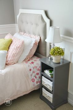 DIY Tufted Headboard and Bed Tutorial | theidearoom.net  #girlsroom