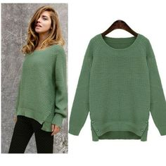 Western Newly Style Round Collar Pure Color Sweater