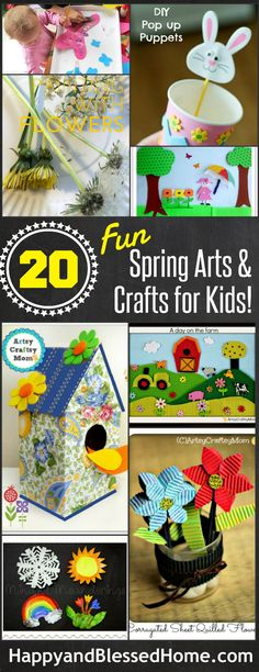 20 Fun Spring Arts and Crafts for Kids with over 90 ideas all-together from HappyandBlessedHome.com Kites - Flowers- Bunnies- Butterflies and more! Plus $500 Giveaway!