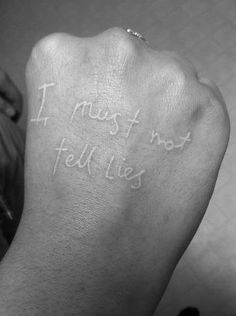 I must not tell lies - Harry Potter tattoo, white ink