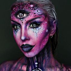 Makeup ideas Halloween – Great Make Up Ideas Sfx Makeup, Cosplay Makeup, Makeup Art, Makeup Ideas, Dark Makeup, Beauty Makeup, Alien Make-up, Alien Girl, Extreme Makeup