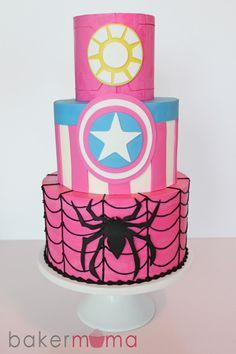 IMG_7058 Girl Superhero Cake, Spiderman Girl, Superhero Birthday Party, Baby Birthday, Birthday Cake, Fete Emma, Cake Decorating Books, Little Girl Cakes, Avenger Cake