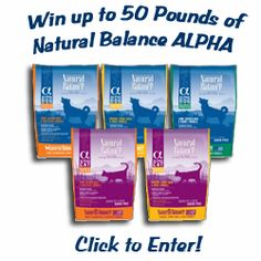 Giveaway: Win up to 50 Pounds of Natural Balance ALPHA Grain-Free Pet Food!