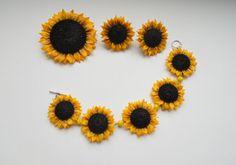 Sunflowers jewelry set bracelet earrings brooch pendant yellow polymer clay fashion gift for her Ukrainian style folk style floral jewelery