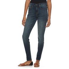 Juniors' Mudd® High-Waisted Denim Jeggings, Girl's, Size: 3 Long, Dark Blue