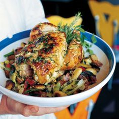 Roast Chicken with Root Vegetables Recipe - Saveur.com