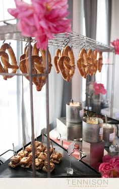 How cute would a soft pretzel bar be for a bridal shower or even wedding cocktail hour!