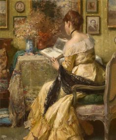 Albert Chevallier Tayler (1862-1925) - a Lady reading a book - #ARTEmisiaLegge - @Libriamo Tutti - http://www.libriamotutti.it/