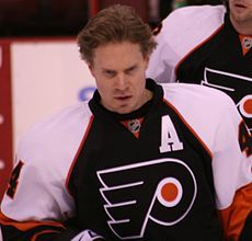 Kimmo Timonen is a Finnish professional ice hockey defenseman and an alternate captain for the Philadelphia #Flyers of the National Hockey League (NHL). He has also represented Nashville #Predators. #Timonen was born in Kuopio and owns a major share of his hometown club #KalPa.