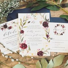Marsala Floral Watercolor Wreath Wedding Invitation by lvandy27