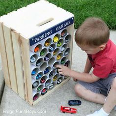Is this not the craftiest thing ever! Make a parking garage out of a storage crate!