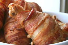 Mini Swansons – Buttermilk Chicken Drumsticks Wrapped in Bacon. In honor of Ron Swanson from Parks and Recreation.