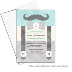 Have a little man that will be joining the crew? This is the perfect mustache and bow tie baby shower invitations to celebrate before his arrival.