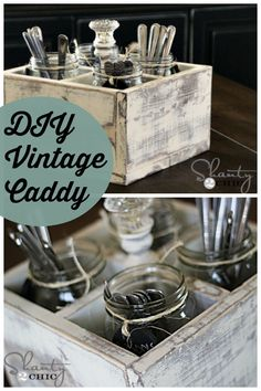 DIY Vintage Caddy ~ perfect for organizing silverware, displaying flowers, holding office supplies and more.