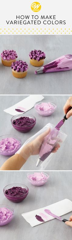 How to Make Variegated Color Buttercream Learn how to make variegated colors for the perfect marbled look when piping your buttercream flowers! This technique creates an interesting blend of colors making each flower unique! Cupcake Frosting Techniques, Homemade Buttercream Frosting, Caramel Buttercream, Frosting Recipes, Cupcake Recipes, Cupcake Cakes, Buttercream Flowers, Icing Flowers, Wilton Cakes
