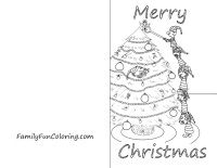 Color These Free Printable Christmas Cards Of Elves Santa Wreaths - Christmas card templates to color