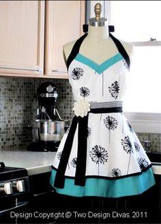 Women's Kitchen Apron  FULLY LINED APRON  Heavy by twodesigndivas, $38.50