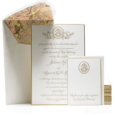 Bell'INVITO Couture Wedding Invitation Suite   Samara + Simon Wedding   Gold and Blush engraving, calligraphy, custom monogram, silkscreen envelope liner #weddinginvitation