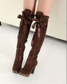 I  am buying these  Fashion elegant Knee High boots Faux Suede belt thick heel ultra high heels women's Laces Up shoes $37.28
