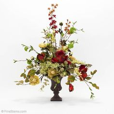 Greens & Floral in Small Urn