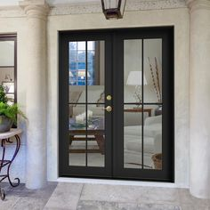 JELD-WEN 60 inch x 80 inch Bronze-clad wood Left 4 Lite French patio door with white color – The Home Depot Black French Doors, French Doors Patio, French Patio, Exterior French Doors, Modern Patio Doors, Exterior Patio Doors, Farmhouse Patio Doors, Sliding French Doors, Steel Exterior Doors