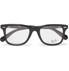 Invest in everyday cool with <a href='http://www.mrporter.com/mens/Designers/RayBan'>Ray-Ban</a>'s stylish optical glasses. Cast in a handsomely bookish D-frame silhouette, this Italian-made pair is crafted from glossy black acetate. Furnish them with your own prescription, or opt for UV-protective lenses to tackle sunnier days.