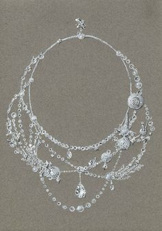 Tony FURION : Collier ' DESSINE MOI UN MOUTON ' (or blanc et diamants) dessin gouaché de joaillerie jewellery rendering