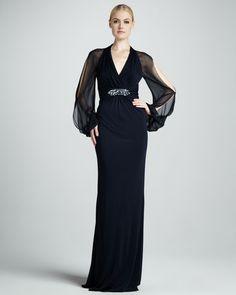David Meister - Cold-Shoulder Empire Waist Gown
