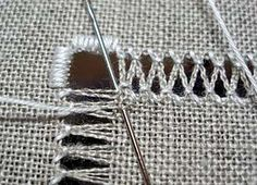 Today, I'd like to show you how to make zig-zag bundles in your drawn thread work. It helps to understand basic hemstitch before moving on to zig-zags, so you m Types Of Embroidery, Learn Embroidery, Hand Embroidery Patterns, Hardanger Embroidery, Silk Ribbon Embroidery, Cross Stitch Embroidery, Cross Stitches, Drawn Thread, Thread Work