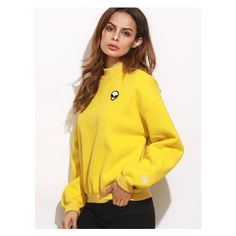 Yellow Drop Shoulder Embroidered Sweatshirt ($13) ❤ liked on Polyvore featuring tops, hoodies, sweatshirts, drop shoulder sweatshirt, embroidery top, drop shoulder tops, embroidered top and yellow sweatshirt