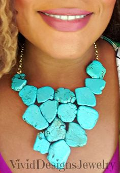 Turquoise Drop Statement Necklace  by VividDesignsJewelry on Etsy