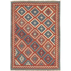 Jaipur Rugs FlatWeave Tribal Pattern Red/Blue Wool Area Rug AT01 (Rectangle)