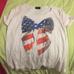 Shirt Cute Red, White & Blue Bow Shirt. Size Large! Tops Blouses