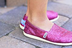 DIY Glittery TOMS | 1 part superfine glitter + 3 parts Mod Podge (gloss) + 1/2 part water. Paint several coats, dry between coats.