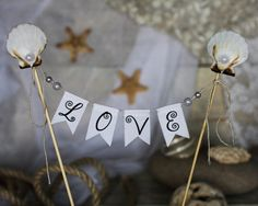 BEACH LOVE Wedding Cake Topper Banner with seashells on Etsy, $19.55 AUD