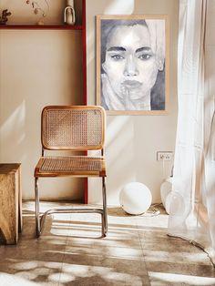 Printable Wall Art Poster | Digital Portrait Drawing | Black White Girl Print | Watercolor Woman Painting | Modern Art Print