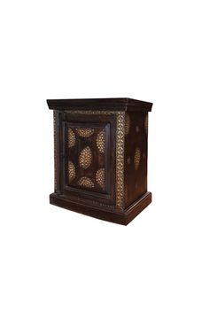 Bedside Wooden Cabinet Brass Accents in a rich dark finish is a striking piece of furniture. Looking for something to enrich your bedroom decor then look no further. Desert Design, Custom Made Furniture, Wooden Cabinets, Bedside, Bookends, Solid Wood, Decorative Boxes, Bedroom Decor, Brass