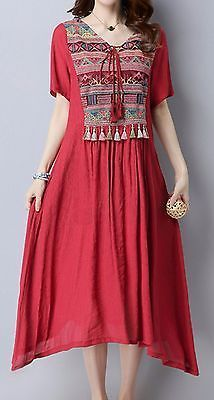 Women loose fitting over plus size ethic flower embroidered tassel dress tunic | Clothing, Shoes