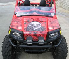 Off Road Graphics - Red Hot Polaris RZR wearing AMR Racing Graphics! Click photo to see all of our Polaris Kits!