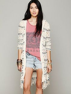 Beachy, casual cardigan.  Hooded Stripe Fringe Cardi
