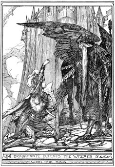 How Bradamante conquered the Wizard - The Red Romance Book by Andrew Lang, illustrated by H. J. Ford, 1921