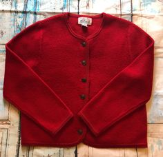 659824c9498 Vintage Tally Ho Creation Red Wool Long Sleeve Cardigan Sweater Size Large