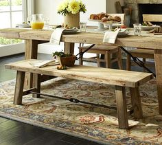Shop benchwright reclaimed wood bench - wax pine finish from Pottery Barn. Our furniture, home decor and accessories collections feature benchwright reclaimed wood bench - wax pine finish in quality materials and classic styles. Reclaimed Wood Dining Table, Reclaimed Wood Furniture, Rustic Table, Farmhouse Table, Wood Tables, Reclaimed Kitchen, Wooden Benches, Rustic Chic, Rustic Furniture