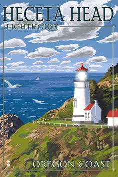 Heceta Head Lighthouse - Oregon Coast - Lantern Press Poster
