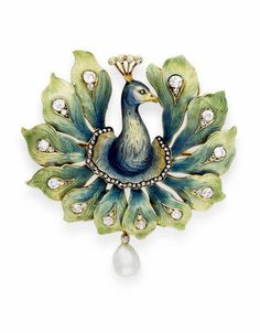 AN ART NOUVEAU ENAMEL, DIAMOND AND PEARL PEACOCK BROOCH | The blue and gold enamel head and neck with a rose-cut diamond eye and head feathers, extending blue and green enamel and gold peacock feathers enhanced by rose and old mine-cut diamonds, suspending a baroque pearl, mounted in 18k gold, circa 1900.
