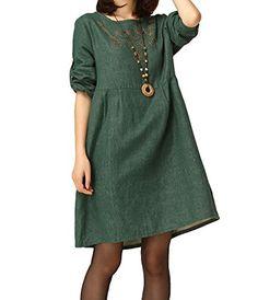 BININBOX Women's Casual Slim Fit Long Sleeve Embroidered Linen Dress (M, Dark Green) BININBOX http://www.amazon.com/dp/B00N1PYSGS/ref=cm_sw_r_pi_dp_fY1lub1N4T803