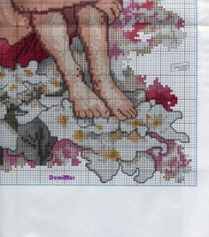 Cross stitch - fairies: Candytuft fairy - Cicely Mary Barker - close-up segment (chart - part B2)