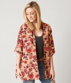 En Crème Floral Cardigan - Women's Kimonos in Red Taupe | Buckle