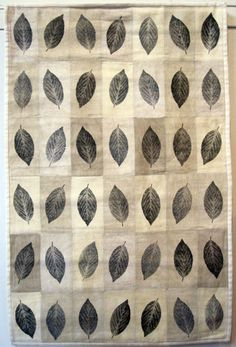 Forest Floor, Lotta Helleberg, leaf prints on plant dyed vintage linen